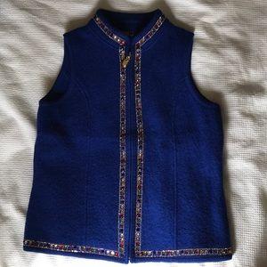 Blue Jeweled 100% wool vest